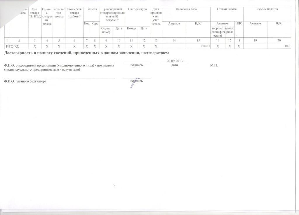 Заявление о ввозе товаров и уплате коссвеных налогов лист 2